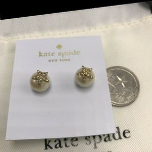 NEW Kate Spade Gold Pavé Star Faux Pearl Earrings